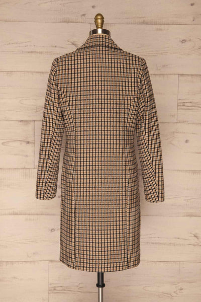 Gothenburg Beige Plaid Double Breasted Coat | La Petite Garçonne back view