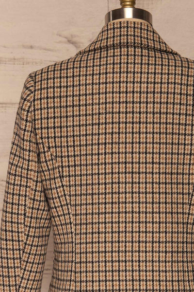 Gothenburg Beige Plaid Double Breasted Coat | La Petite Garçonne back close-up
