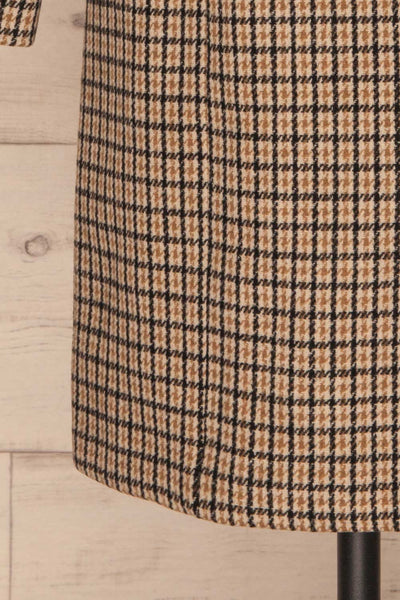 Gothenburg Beige Plaid Double Breasted Coat | La Petite Garçonne bottom close-up