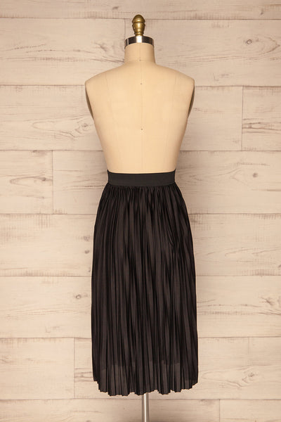 Gouves Black Pleated Midi Skirt | La petite garçonne back view