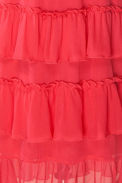 Gova Red Layered Ruffles Festive Midi Skirt | Boutique 1861 7