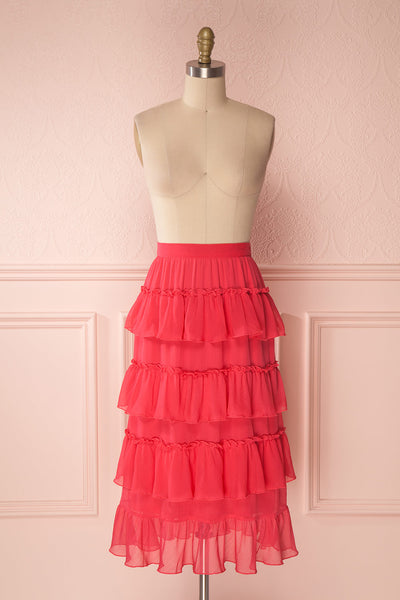 Gova Red Layered Ruffles Festive Midi Skirt | Boutique 1861 1