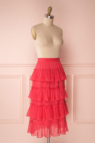 Gova Red Layered Ruffles Festive Midi Skirt | Boutique 1861 3