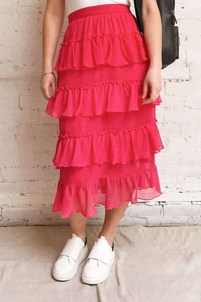Gova Red Layered Ruffles Festive Midi Skirt | Boutique 1861 on model