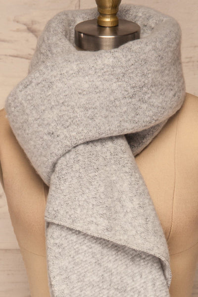 Gozdnica Grey Fuzzy Knitted Scarf knot close up | La Petite Garçonne