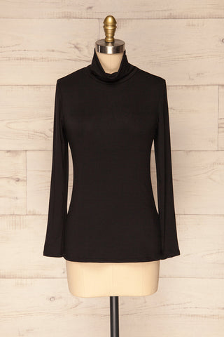 Graide Black Long Sleeved Turtleneck Top | La Petite Garçonne