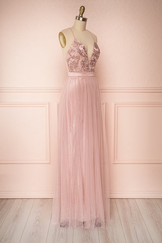 Grania Blush Pink Tulle Maxi Dress | Boutique 1861 3