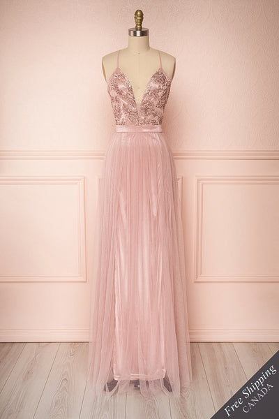 Grania Blush Pink Tulle Maxi Dress | Boutique 1861 1