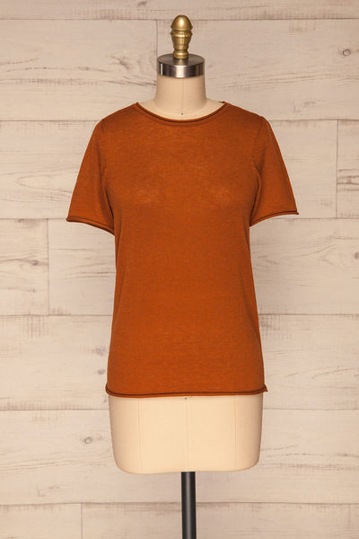Granna Rust Brown Short Sleeved Knit front view | La petite garçonne