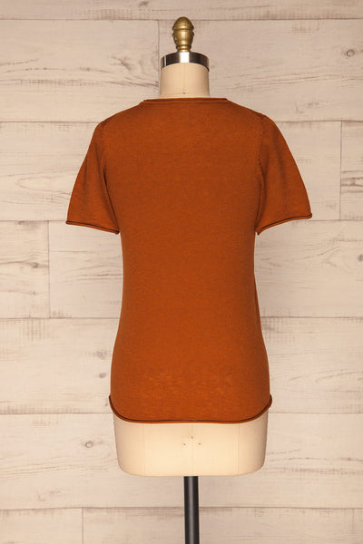 Granna Rust Brown Short Sleeved Knit back view | La petite garçonne
