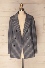 Graty Navy & White Striped Straight Loose Jacket | La Petite Garçonne