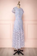 Greetje Blue Floral Lace Ruffled Cocktail Dress | Boutique 1861