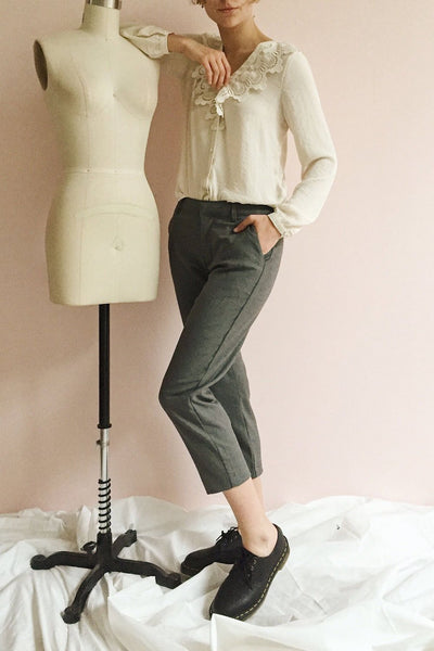 Etain Grey Work Pants | Pantalon | La Petite Garçonne on model