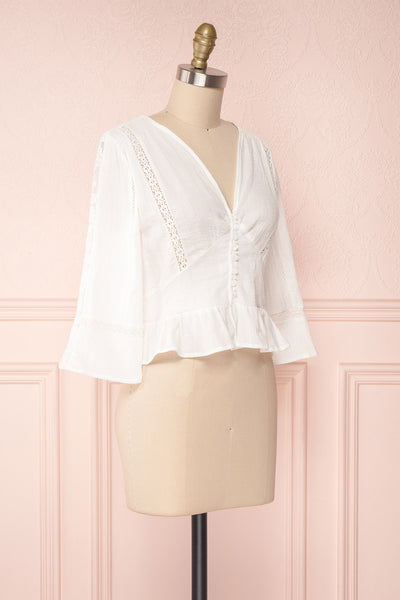 Gulcan Ivory Button-Up Crop Top with Lace | Boutique 1861 3