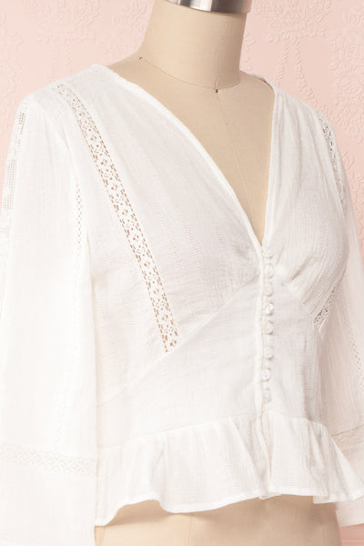 Gulcan Ivory Button-Up Crop Top with Lace | Boutique 1861 4