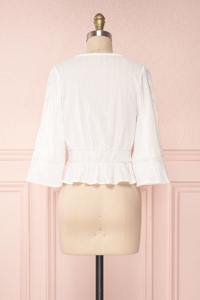 Gulcan Ivory Button-Up Crop Top with Lace | Boutique 1861 5