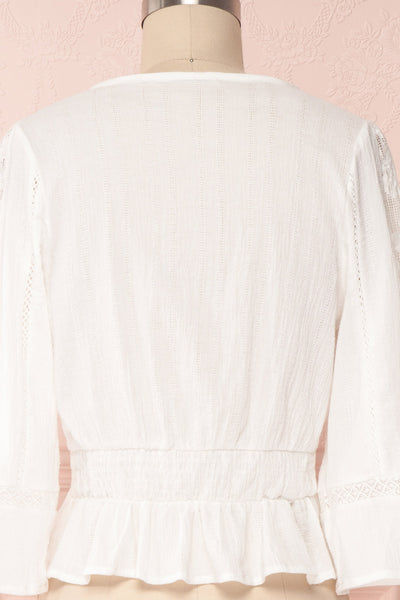 Gulcan Ivory Button-Up Crop Top with Lace | Boutique 1861 6