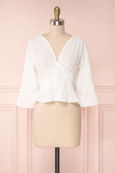 Gulcan Ivory Button-Up Crop Top with Lace | Boutique 1861