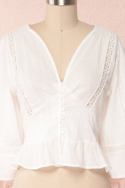Gulcan Ivory Button-Up Crop Top with Lace | Boutique 1861 2