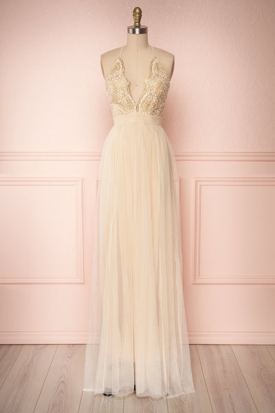 Gunvor Beige Mesh Gown with Glitter | Boutique 1861 front view