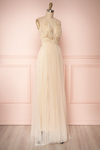 Gunvor Beige Mesh Gown with Glitter | Boutique 1861 side view