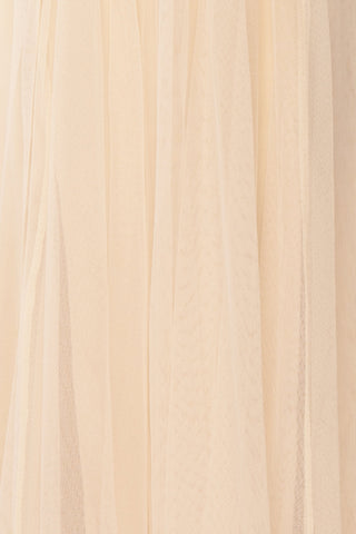 Gunvor Beige Mesh Gown with Glitter | Boutique 1861 fabric detail