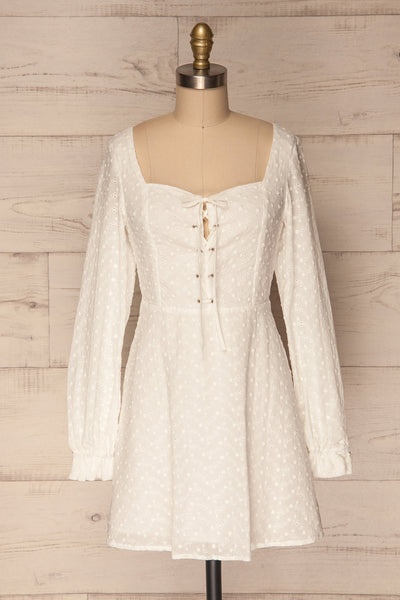 Gurkoys White Long Puff Sleeved & Laced Dress | La Petite Garçonne