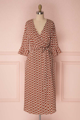Gwendola Off-White Patterned Midi Wrap Dress | Boutique 1861