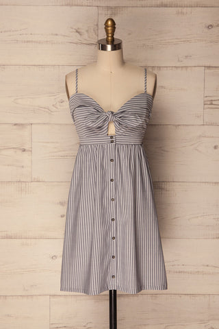 Habai Grey Striped Summer Dress with Tied Detail | La Petite Garçonne