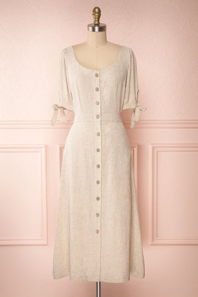 Hadeon Beige Midi A-Line Dress | Robe en Lin front view | Boutique 1861