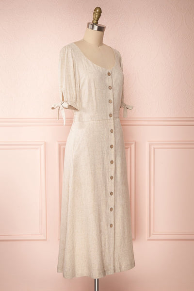 Hadeon Beige Midi A-Line Dress | Robe en Lin side view | Boutique 1861