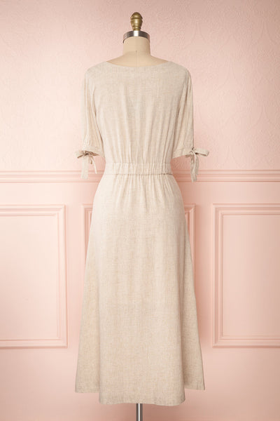 Hadeon Beige Midi A-Line Dress | Robe en Lin back view | Boutique 1861