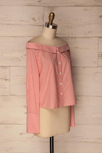 Haget Red & White Striped Boat Neckline Shirt | La Petite Garçonne