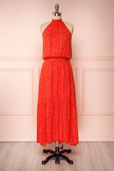 Hagoromo Red & White Polka Dots Maxi Dress | La petite garçonne front view