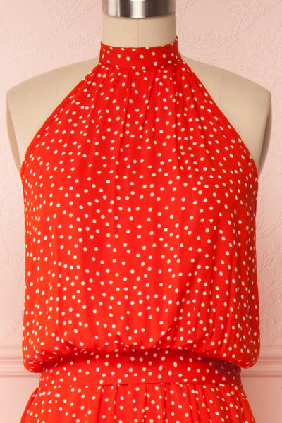 Hagoromo Red & White Polka Dots Maxi Dress | La petite garçonne front close up