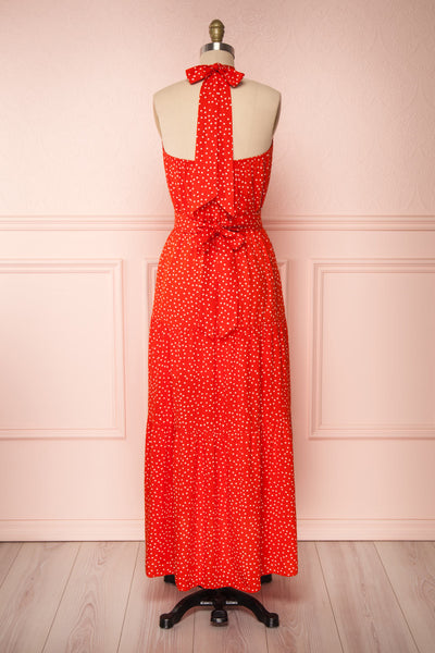 Hagoromo Red & White Polka Dots Maxi Dress | La petite garçonne back view