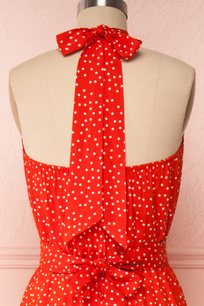 Hagoromo Red & White Polka Dots Maxi Dress | La petite garçonne back close up