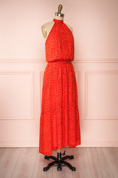 Hagoromo Red & White Polka Dots Maxi Dress | La petite garçonne side view