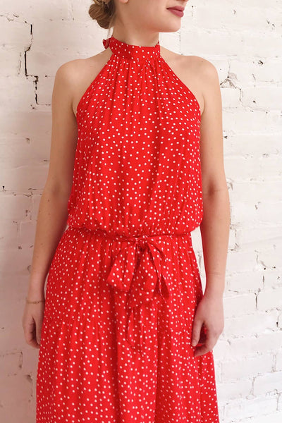 Hagoromo Red & White Polka Dots Maxi Dress | La petite garçonne model close up