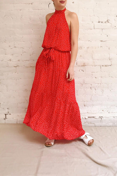 Hagoromo Red & White Polka Dots Maxi Dress | La petite garçonne model look