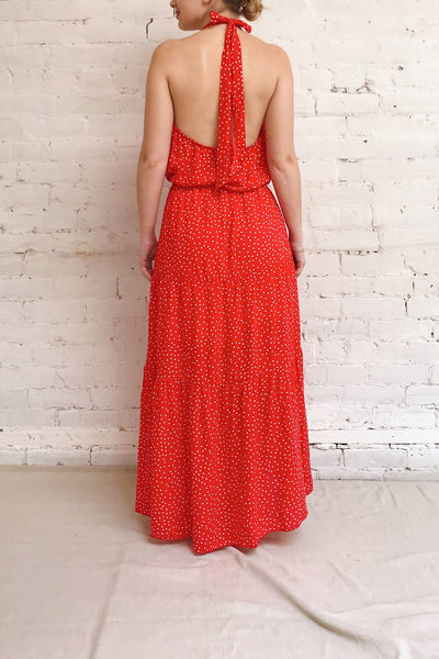 Hagoromo Red & White Polka Dots Maxi Dress | La petite garçonne model back