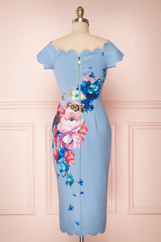 Hailly Blue Floral Scalloped Fitted Ted Baker Dress | Boutique 1861