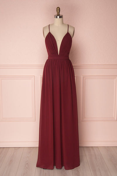 Haley Fire Burgundy Chiffon Gown with Décolleté | Boutique 1861
