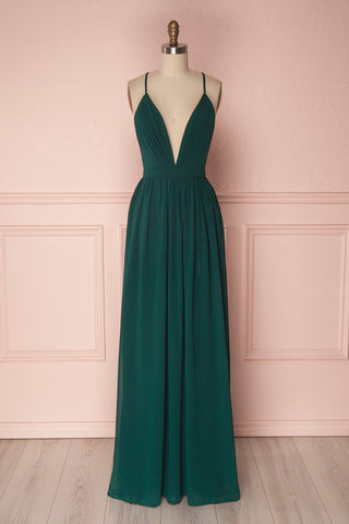 Haley Forest Green Chiffon Gown with Décolleté | Boutique 1861