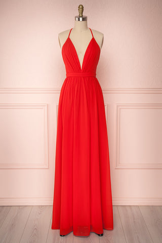 Haley Passion Red Chiffon Gown with Décolleté | Boutique 1861