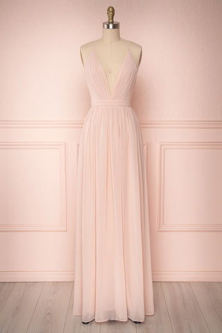 Haley Petal Blush Chiffon Gown with Décolleté | Boutique 1861