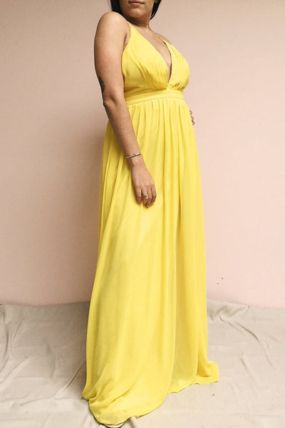 Haley Sun Yellow Chiffon Gown with Plunging Neckline | Boutique 1861 on model