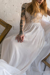 Halide Ivory Chiffon Embroidered A-Line Bridal Dress | Boudoir 1861