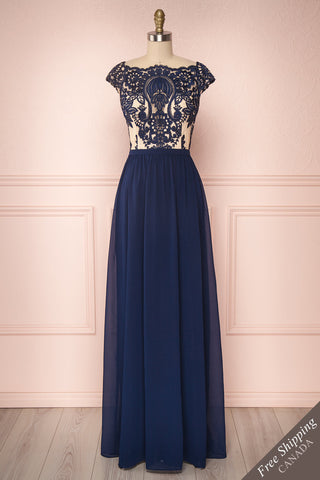 Halide Navy Blue Chiffon Embroidered A-Line Gown | Boutique 1861
