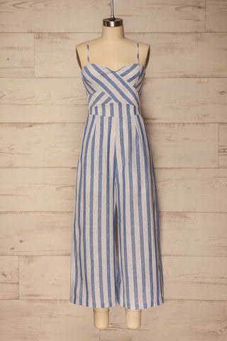 Haltinne Blue & Grey Striped Wide Leg Jumpsuit | La Petite Garçonne